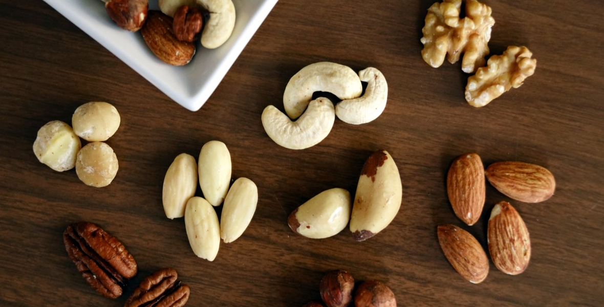 mixed nuts on table
